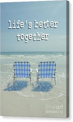 Empty Chairs Canvas Print - Two Empty Beach Chairs by Edward Fielding