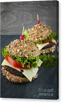 Two Gourmet Hamburgers Canvas Print