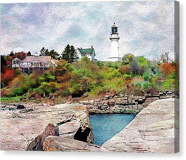 Canvas Print featuring the photograph Two Lights - Maine by Joseph Hendrix