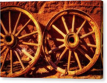 Two Old Wagon Wheels Canvas Print