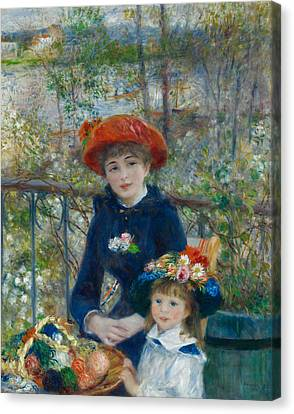 Basket Of Flowers Canvas Print - Two Sisters On The Terrace by Auguste Renoir
