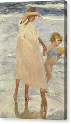 Two Sisters, Valencia Canvas Print by Joaquin Sorolla y Bastida