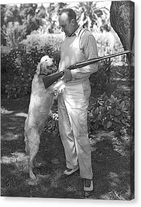 Ty Cobb With His Dog Canvas Print by Underwood Archives