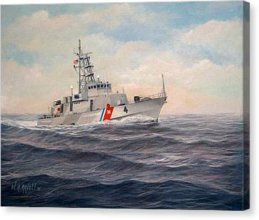 Law Enforcement Canvas Print - U. S. Coast Guard Cutter Monsoon by William H RaVell III