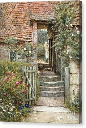Under The Old Malthouse, Hambledon, Surrey Canvas Print by Helen Allingham