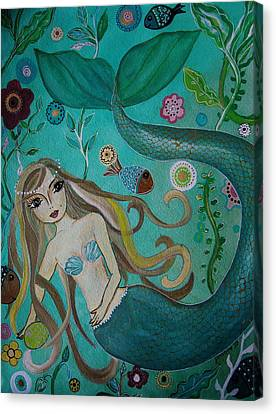 Angel Mermaids Ocean Canvas Print - Under The Sea by Pristine Cartera Turkus