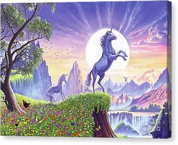 Canvas Print featuring the digital art Unicorn Moon by Steve Crisp