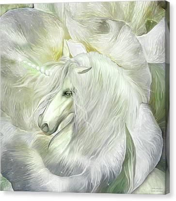 Canvas Print featuring the mixed media Unicorn Rose by Carol Cavalaris
