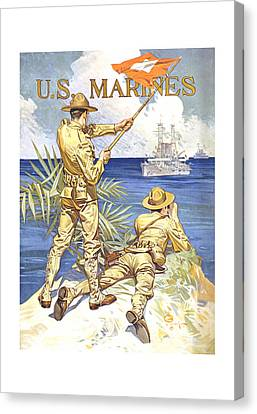 Us Marines - Ww1 Canvas Print by War Is Hell Store