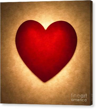 Brown Tones Canvas Print - Valentine Heart by Tony Cordoza
