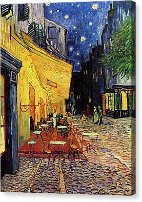 Van Gogh Cafe Terrace Place Du Forum At Night Canvas Print
