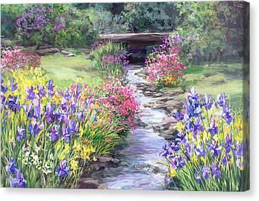 Vandusen Garden Iris Bridge Canvas Print by Laurie Hein
