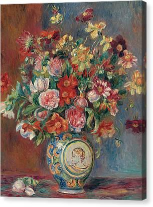 Ceramics Canvas Print - Vase With Flowers by Pierre Auguste Renoir