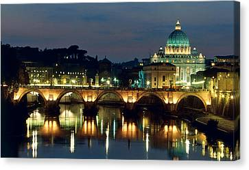 Vatican Skyline  View Of St Peters Basilica In The Evening Canvas Print