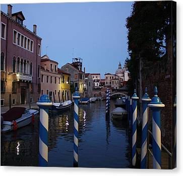 Canvas Print featuring the photograph Venice At Night by Pat Purdy