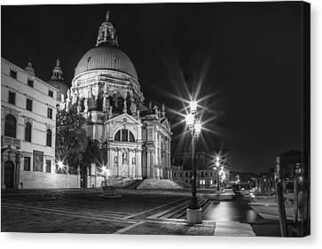 Venice Santa Maria Della Salute Black And White Canvas Print