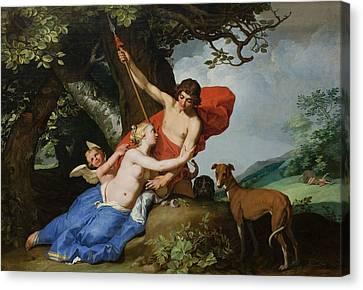 Venus And Adonis Canvas Print by Abraham Bloemaert