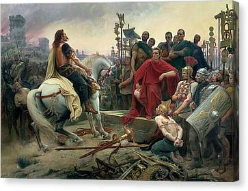 Vercingetorix Throws Down His Arms At The Feet Of Julius Caesar Canvas Print by Lionel-Noel Royer
