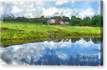 Vermont Farm Landscape Pencil Canvas Print by Edward Fielding