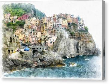 Manarola Italy In The Cinque Terra Canvas Print