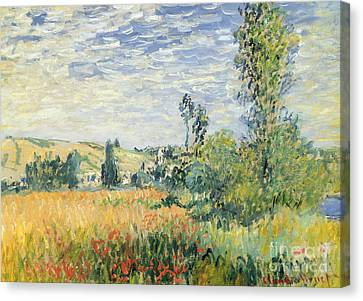 Hay Canvas Print - Vetheuil by Claude Monet