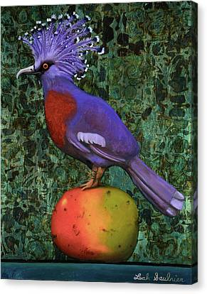 Victoria Crowned Pigeon On A Mango Canvas Print by Leah Saulnier The Painting Maniac