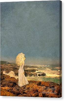 Victorian Lady By The Sea Canvas Print by Jill Battaglia