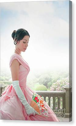 Canvas Print featuring the photograph Victorian Woman In A Pink Ball Gown by Lee Avison