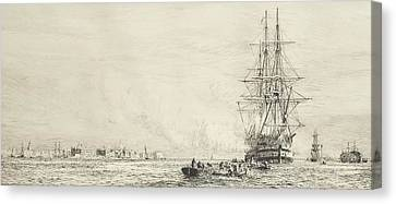 Victory Lying In The Harbour At Portsmouth Canvas Print