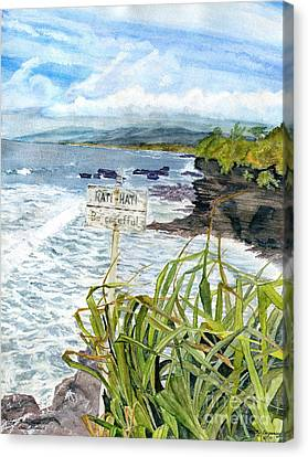 Canvas Print featuring the painting View From Tanah Lot Bali Indonesia by Melly Terpening