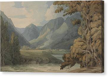 View In Borrowdale Of Eagle Crag And Rosthwaite Canvas Print