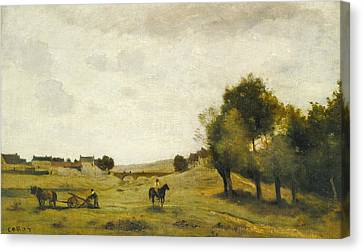 View Near Epernon Canvas Print by Jean-Baptiste-Camille Corot