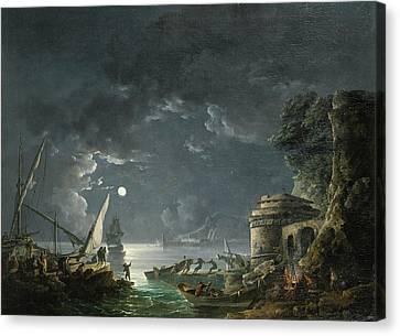 View Of A Moonlit Mediterranean Harbor Canvas Print by Carlo Bonavia