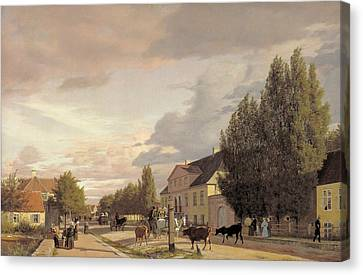 View Of A Street In Osterbro Outside Copenhagen. Morning Light Canvas Print by Christen Kobke