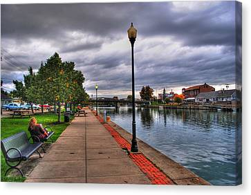 View Of Delaware Bridge At Erie Canal Harbor Canvas Print