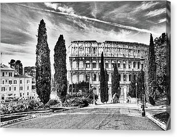 View Of The Back Of The Coliseum Early On A Sunny Summer Morning Canvas Print by George Westermak