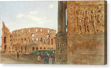 View Of The Coliseum From The Arch Of Constantine, Rome Canvas Print by Rudolf von Alt