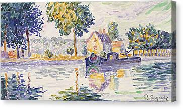 View Of The Seine, Samois Canvas Print
