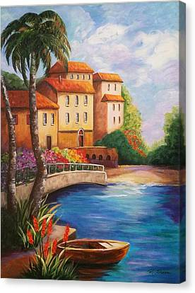 Villas By The Sea Canvas Print by Rosie Sherman