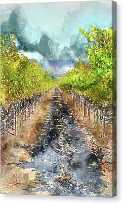 Vineyard In Autumn Canvas Print by Brandon Bourdages