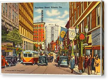 Vintage Atlanta Postcard Canvas Print by Mountain Dreams