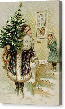 Father Christmas Canvas Print - Vintage Christmas Card by American School