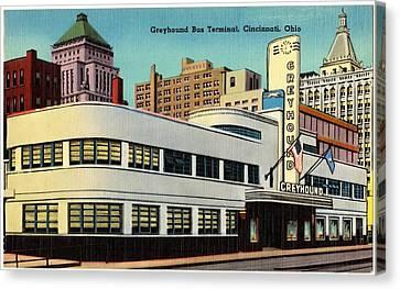 Greyhound Canvas Print - Vintage Cincinnati Postcard by Mountain Dreams