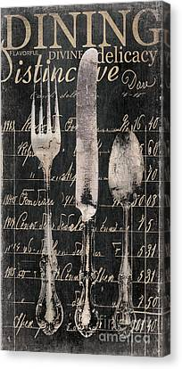 Vintage Dining Utensils In Black  Canvas Print by Grace Pullen
