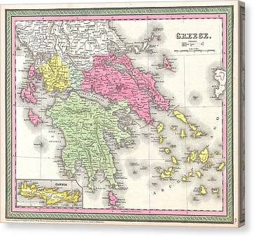 Vintage Map Of Greece  Canvas Print by CartographyAssociates