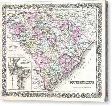 Vintage Map Of South Carolina  Canvas Print by CartographyAssociates