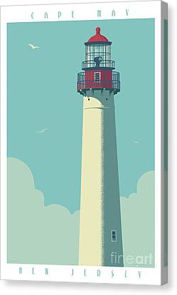 Vintage Style Cape May Lighthouse Travel Poster Canvas Print by Jim Zahniser