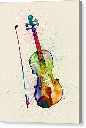 Violin Abstract Watercolor Canvas Print by Michael Tompsett