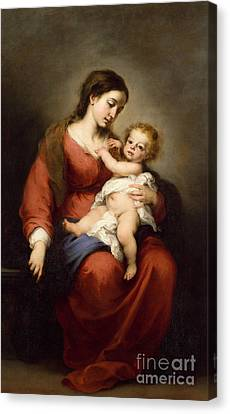 Virgin And Child Canvas Print by Bartolome Esteban Murillo