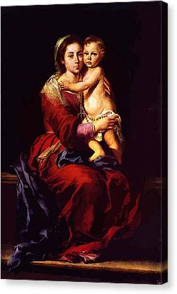 Virgin And Child Painting Canvas Print
